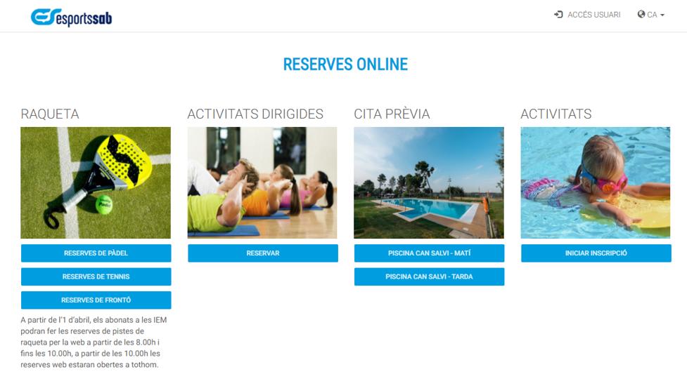 Reserves pistes raqueta i inscripcions d'activitats (puntuals, cursets, activitats d'esitu, escola tennis i pàdel)